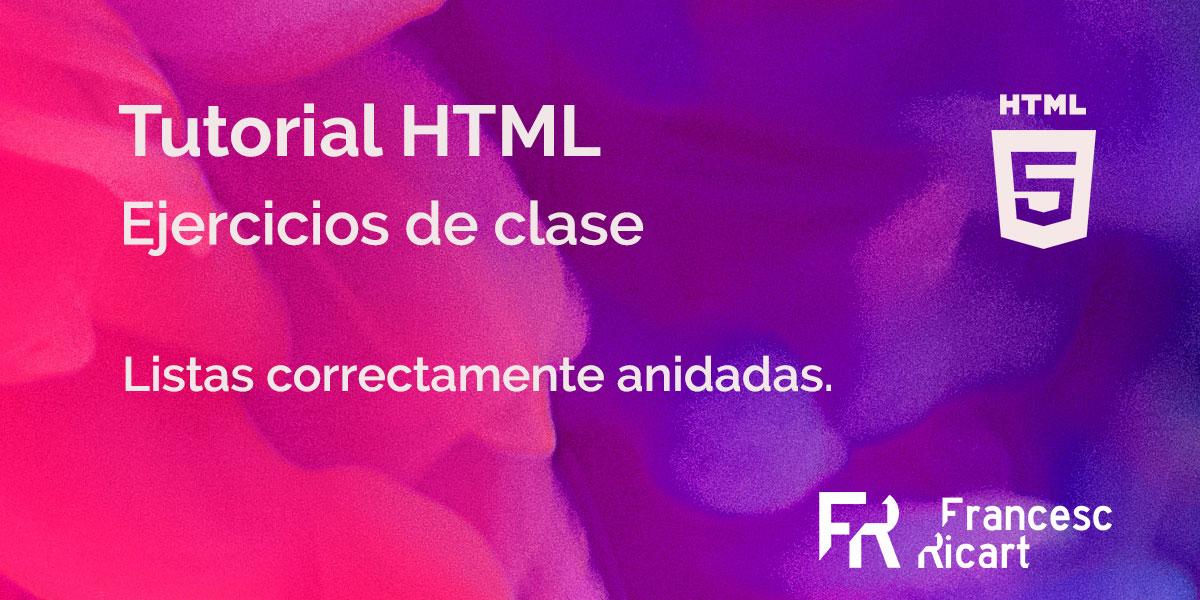 Portada ejercicio html listas no ordenadas