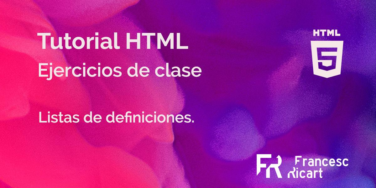 Portada de ejercicio html sobre listas de definiciones