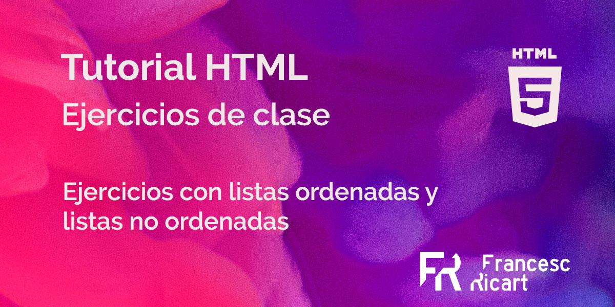 portada ejericios html con listas