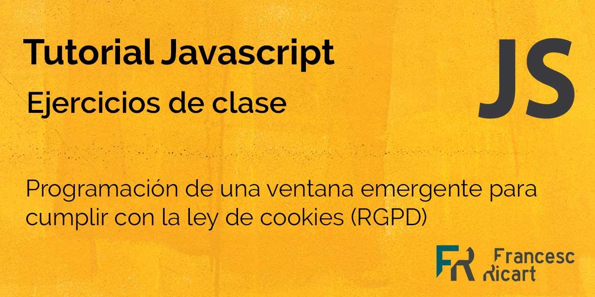 Portada ejercicio javascript ley de cookies
