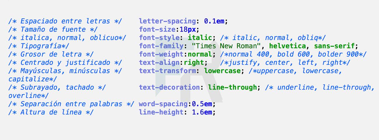 Resumen de instrucciones CSS para texto