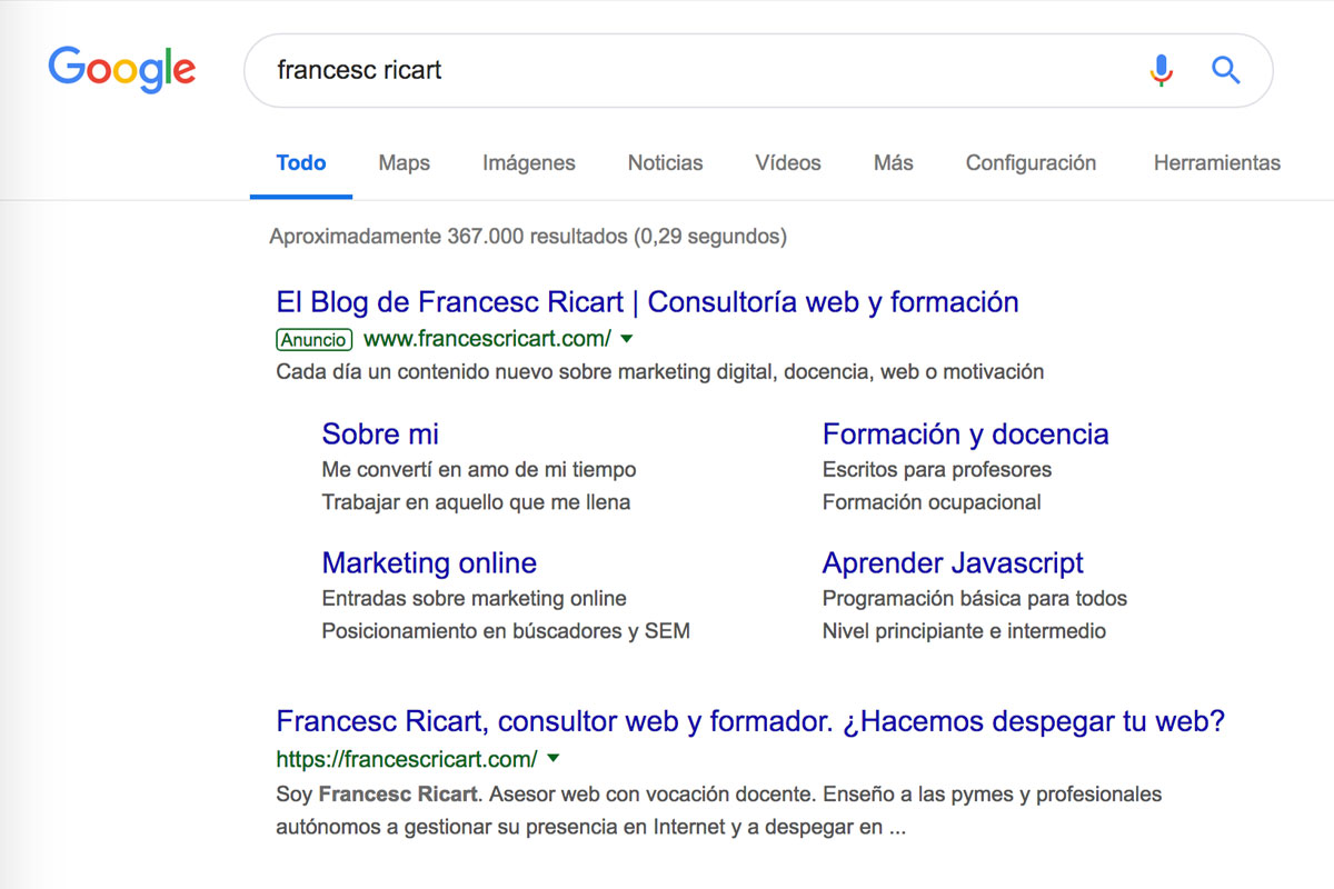 primero en google