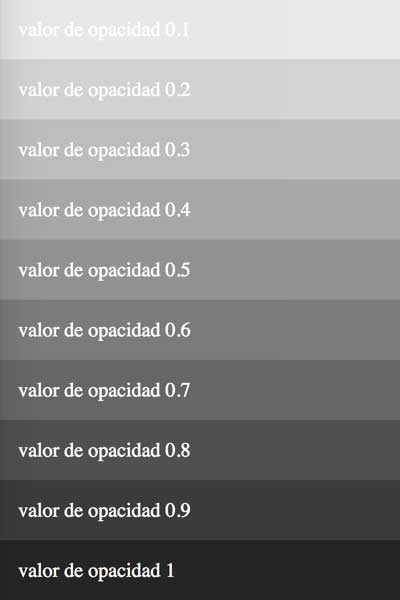 escala cromatica #252525 modificando opacidad