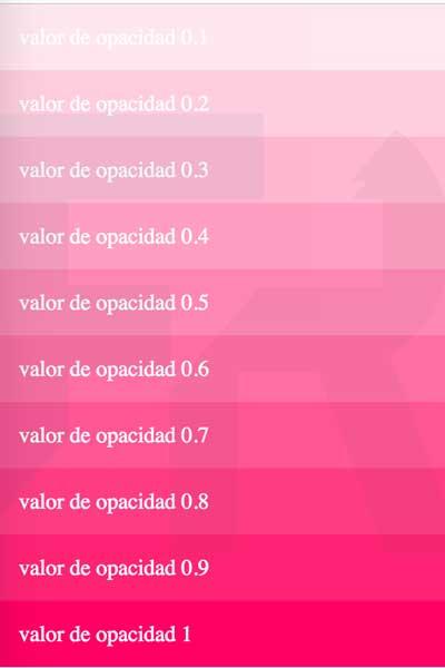 escala cromatica #ff0064 modificando opacidad