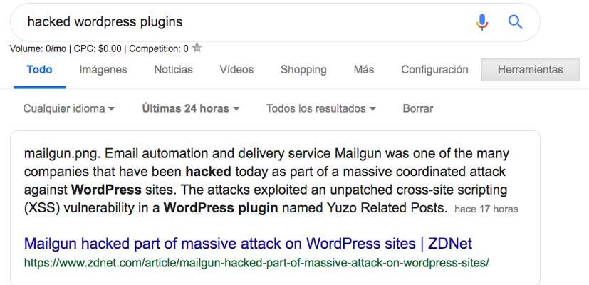 Búsqueda hacked wordpress plugins