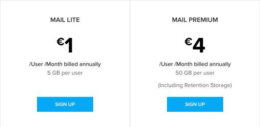 tabla de precios zoho mail