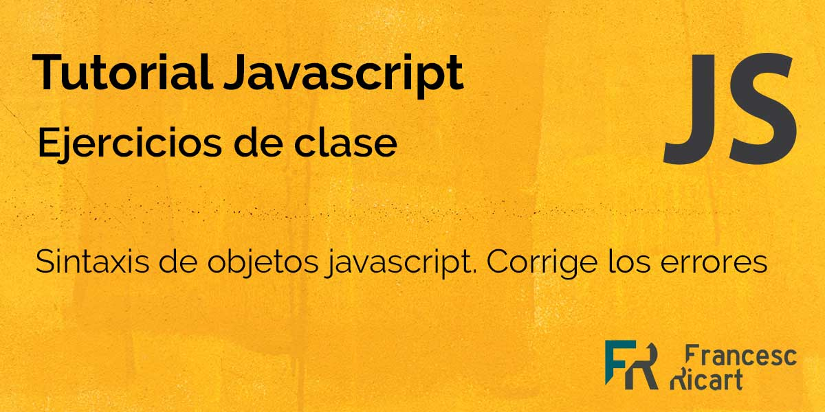 Portada Ejercicio sobre sintaxis de objetos en javascript