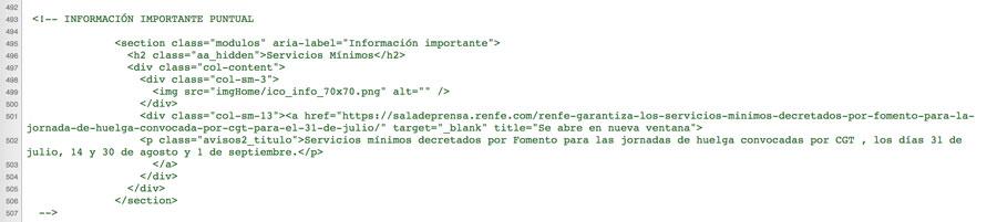 Código fuente página de inicio de la web de RENFE el 03/08/2019 a las 22.47. Un nuevo aviso de huelga