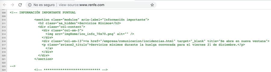 Código fuente página de inicio de la web de RENFE el 29/05/2019 a las 17.39