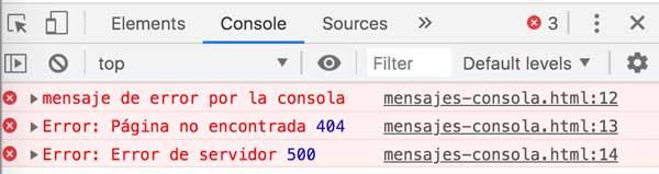 Mostrar mensajes por la consola del navegador 2