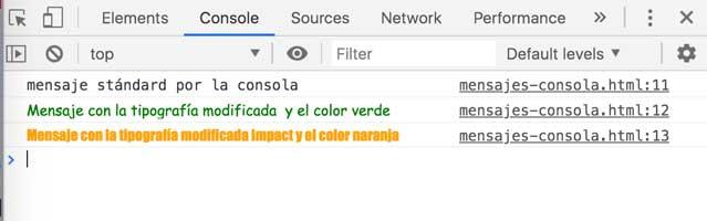 Mostrar mensajes por la consola del navegador 3