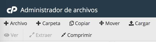 iconos comprimir archivos cpanel