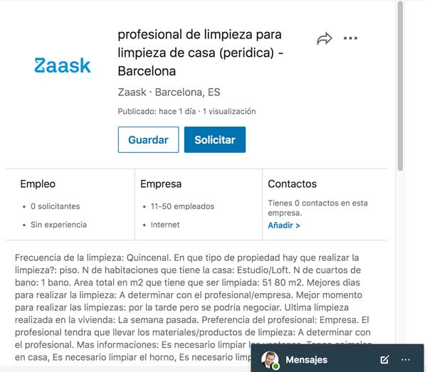 oferta de trabajo profesional de limpieza Linkedin
