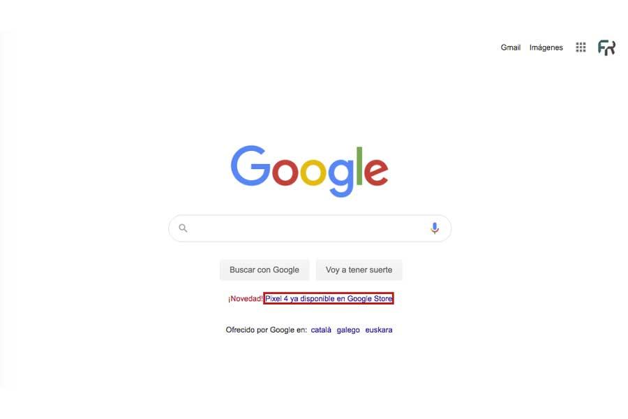 Publicidad en la página de inicio de google