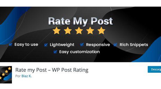 imagen de portada en wordrpess.org de rate my post plugin