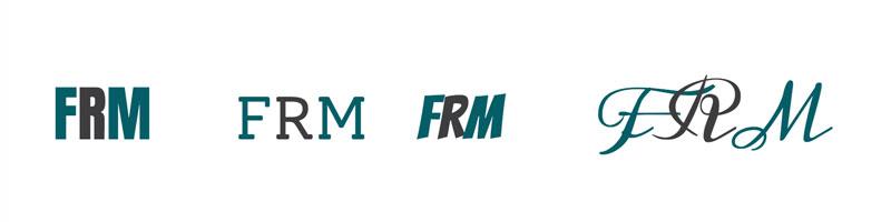 ejemplos de logos obtenidos mediante tipografías css y una paleta de colores