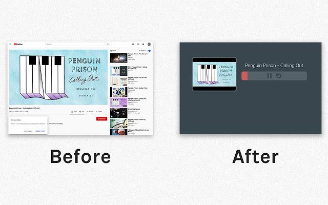 antes y después del uso de la extensión para escuchar música en youtube