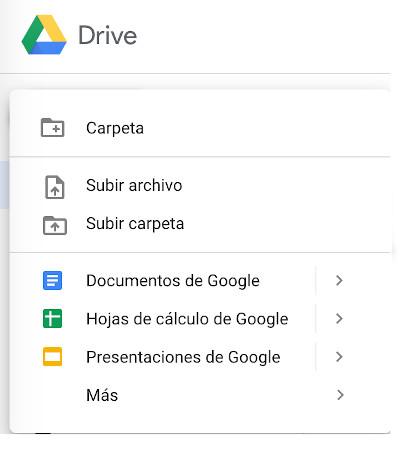opciones ofimática google drive