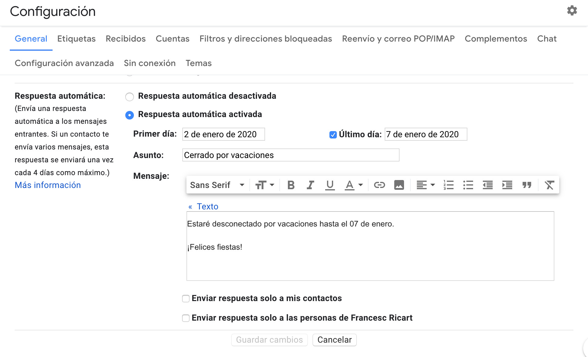 configuración out of office gmail