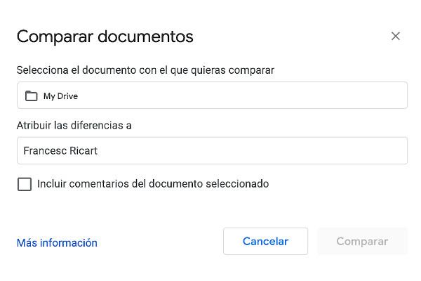 Herramienta de comparación de documentos de Google Docs en Google Drive