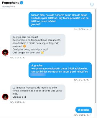 Conversación real DM Twitter Pepephone