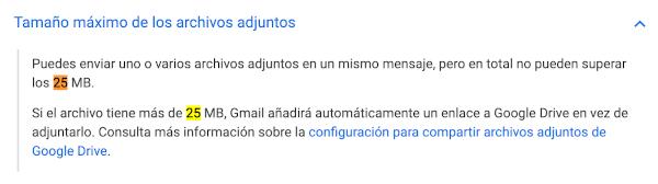 ¿Cuál es el límite de peso de los adjuntos en gmail? 1