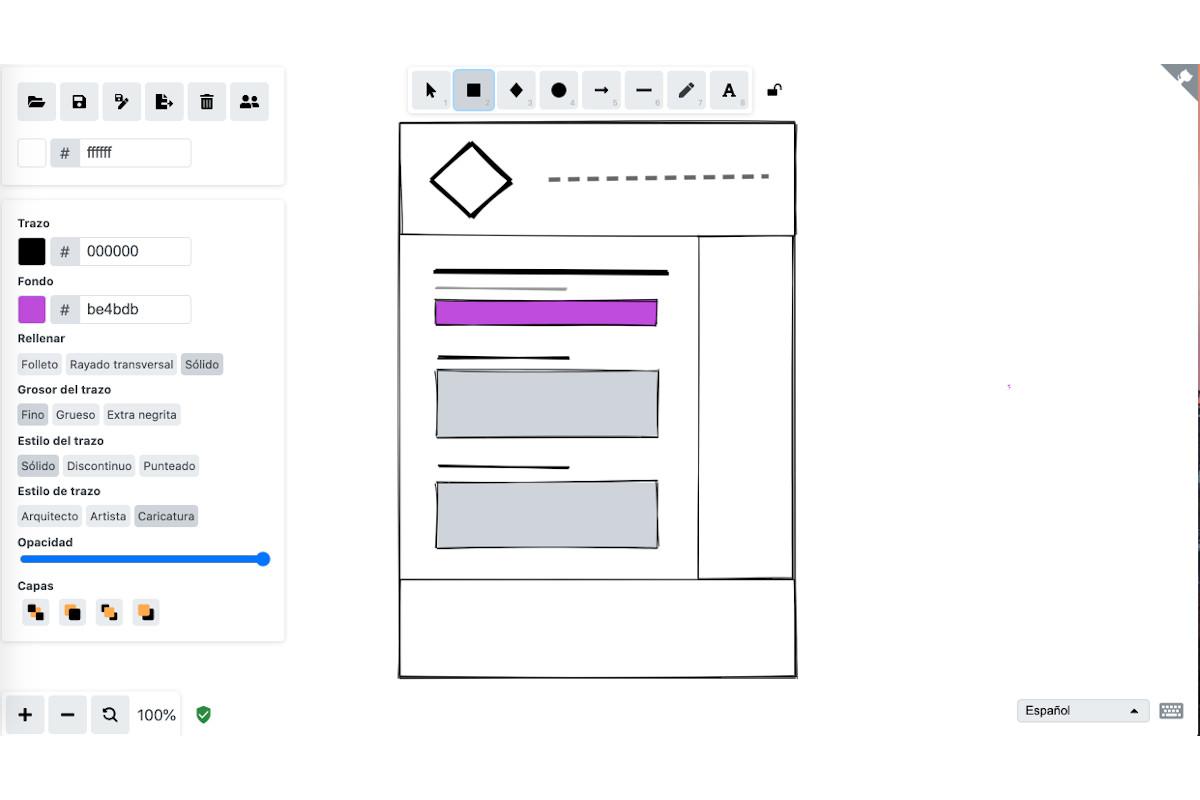Excalidraw, una herramienta para hacer mockups web rápidos 9