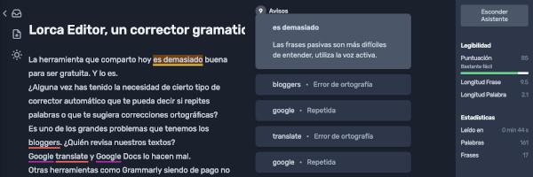 Lorca Editor: corrige y mejora tus textos en español a 0€